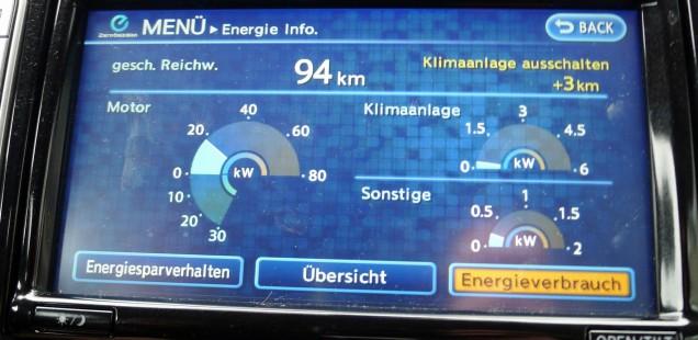 Aktuelle Leistungswerte von Motor, Klimaanlage und sonstigen Verbrauchern im Nissan Leaf
